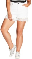 City Chic Plus Size Women's Crochet Hem Short Shorts