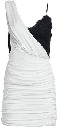 Alice + Olivia Bianca Ruched One-Shoulder Stretch Silk Mini Dress