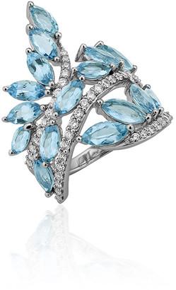 Hueb Botanica 18k White Gold Aquamarine & Diamond Ring