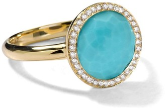 Ippolita 18kt yellow gold small Lollipop turquoise and diamond ring