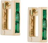 Lizzie Mandler Fine Jewelry petit square emerald 'Huggies' earrings