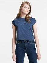 Calvin Klein Jeans Cap Sleeve Cropped Logo T-Shirt