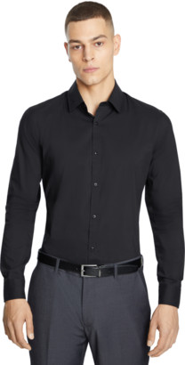 yd. Black Plain Stretch Slim Dress Shirt