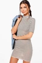 Boohoo Petite Victoria Turtle Neck Stripe Dress
