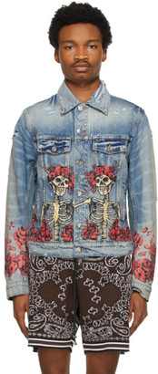Amiri Blue Grateful Dead Denim Trucker Jacket