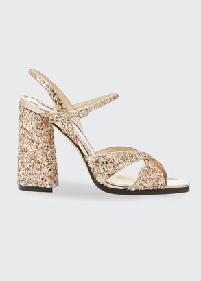 Jimmy Choo Joya Glitter Strappy Sandals
