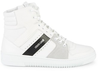 Roberto Cavalli High-Top Leather Suede Sneakers