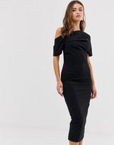 Asos Design DESIGN pleated shoulder pencil dress