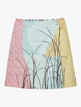 White Stuff Ame Print Wrap Skirt, Aqua/Multi