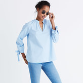 Madewell Striped Tie-Sleeve Popover Top