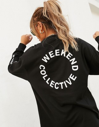 ASOS DESIGN Weekend Collective oversized longsleeve t-shirt with back logo in black