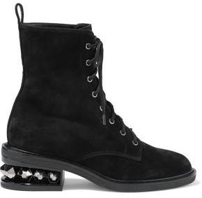 Nicholas Kirkwood Suzi Studded Suede Ankle Boots