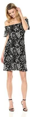 Robbie Bee Women's Convertible Sheath Dress Black/Ivory L