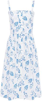 HVN Laura Bow-embellished Printed Cotton-blend Poplin Dress
