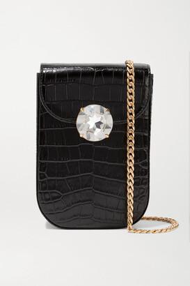 Miu Miu Solitaire Crystal-embellished Croc-effect Leather Shoulder Bag - Black