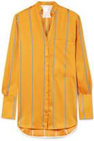 Victoria, Victoria Beckham - Striped Satin-twill Shirt - Orange