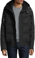 Andrew Marc Summit Embossed Down Bomber Jacket, Jet Black