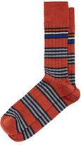 Neiman Marcus Merino Striped Wide-Rib Socks