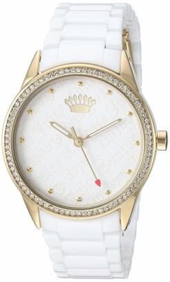 Juicy Couture Black Label Women's Swarovski Crystal Accented Gold-Tone and White Ceramic Bracelet Watch JC/1172WTWT