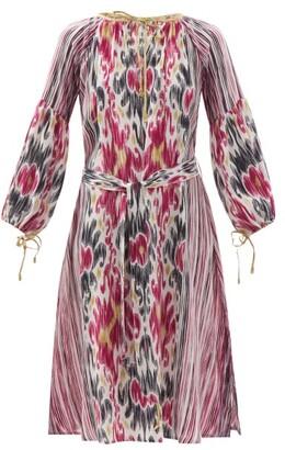 D'Ascoli Amina Belted Ikat-print Silk-crepe Dress - Pink Multi