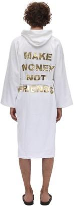 Make Money Not Friends Logo Cotton Terrycloth Bathrobe