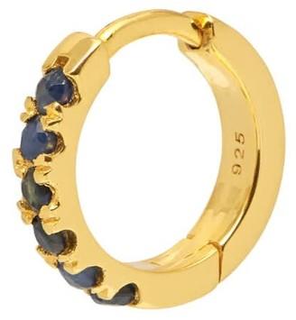 Northskull Blue Sapphire Hoop Earring In Gold