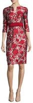 Carolina Herrera Floral Jacquard Sheath Dress