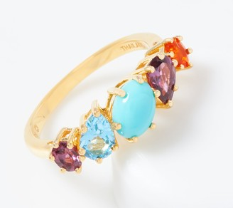 Turquoise & Multi-Cut Gemstone Band Ring, 18K Gold Plated