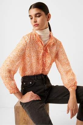 French Connection Cade Crinkle Ruffle Neck Blouse