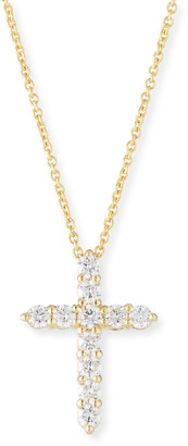 Roberto Coin Tiny Treasure 18k Gold Diamond Cross Necklace