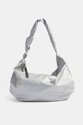 Topshop Oversized Nylon Reflective Hobo Bag