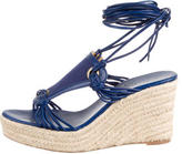 Hermes Lace-Up Espadrille Wedges