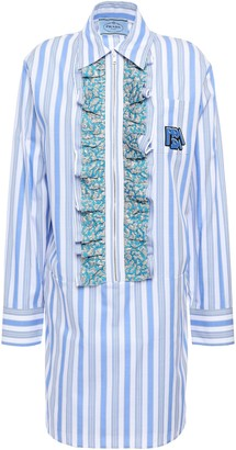 Prada Ruffled Logo-appliqued Striped Cotton-poplin Mini Shirt Dress