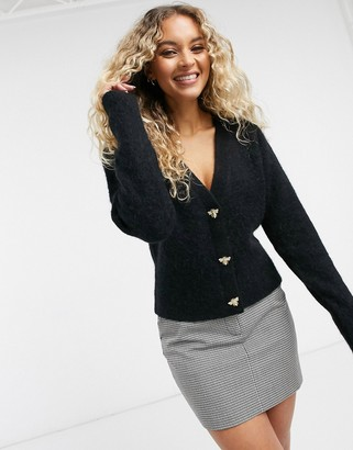And other stories & bee button-front cardigan in black