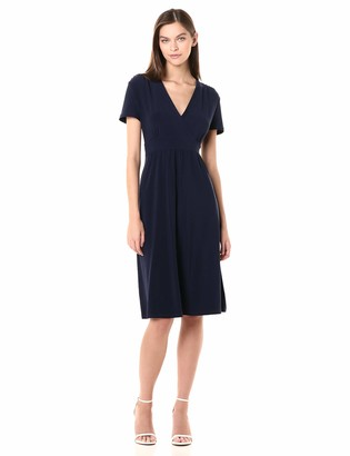 Anne Klein Women's Vneck Waisted Knit FIT and Flare Dress