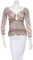 Roberto Cavalli Feather Printed Embellished Top