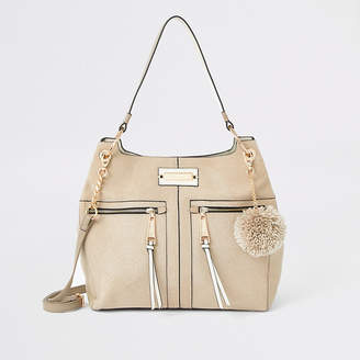 River Island Stone zip front slouch bag