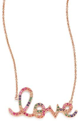 Sydney Evan Large Rainbow Love Ruby, Sapphire, Emerald & 14K Rose Gold Necklace