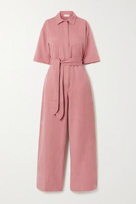 Apiece Apart Sveta Belted Linen And Cotton-blend Twill Jumpsuit - Antique rose