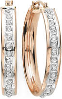 FINE JEWELRY Diamond Fascination 14K Rose Gold Diamond Accent Flat Hoop Earrings
