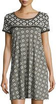 Max Studio Geometric-Print T-Shirt Dress, Black/Ivory