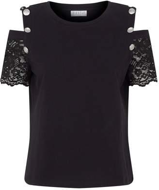 Claudie Pierlot Lace Sleeve Cold-Shoulder T-Shirt