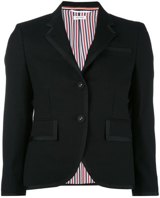 Thom Browne Classic Single Breasted Sport Coat With Grosgrain Tipping In 2 Ply Fresco