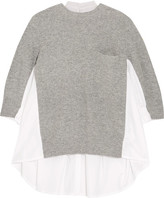 Sacai Ribbed Wool-blend And Plissé Poplin Sweater