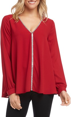 Karen Kane Sparkle Long Sleeve Top