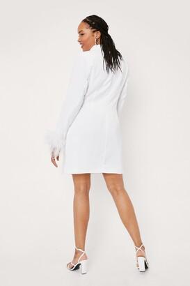 Nasty Gal Womens Plus Size Bridal Feather Trim Blazer Dress - White - 16