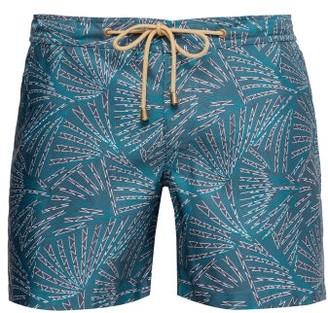Thorsun Fan-print Titan-fit Swim Shorts - Mens - Green