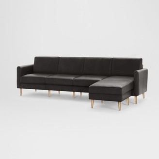 "west elm Burrow Nomad Leather King Reversible Chaise Sectional (112"")"