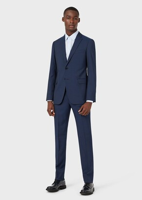 Emporio Armani Single-Breasted, Modern-Fit Stretch Virgin Wool Suit