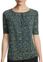 Liz Claiborne 3/4-Sleeve Pleated-Neck Knit Top